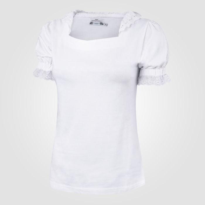 Damen Shirt weiss mit Spitze
