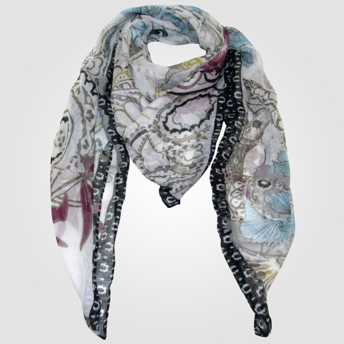 Quadratisches Damen-Halstuch bunt gemustert