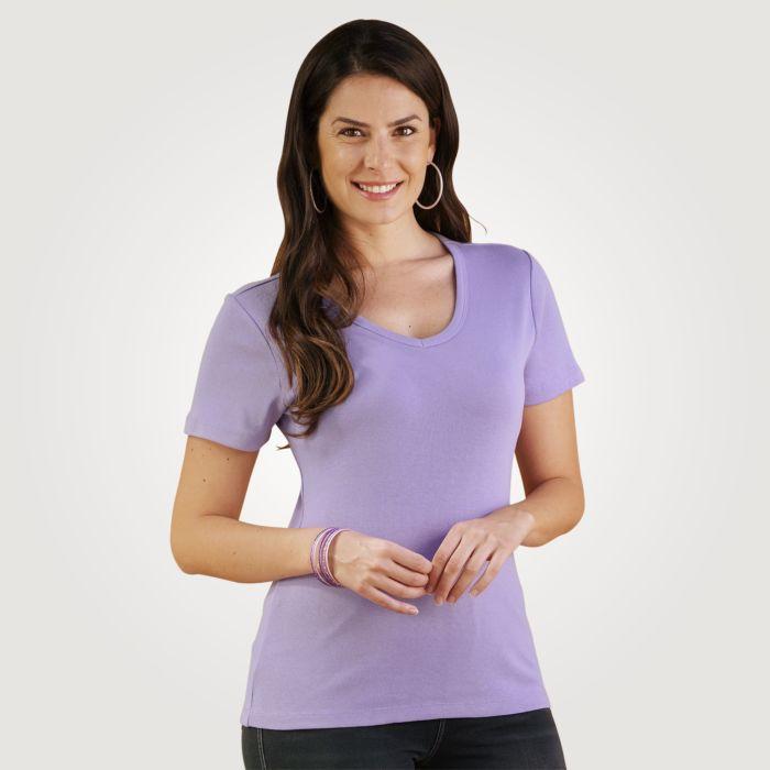 T-shirt côtelé à encolure en V arrondie
