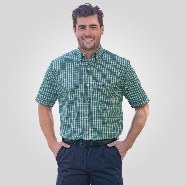 Kurzarmhemd Herren grün kariert