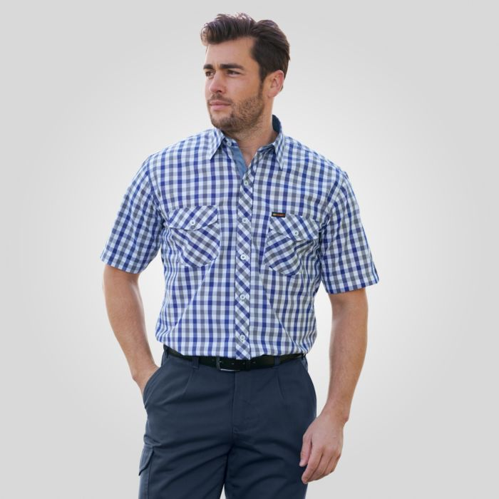 Kariertes Herren-Kurzarmhemd dunkelblau