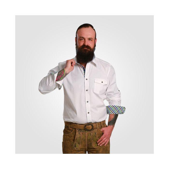 Herren Langarmhemd weiss mit Karo-Einsatz