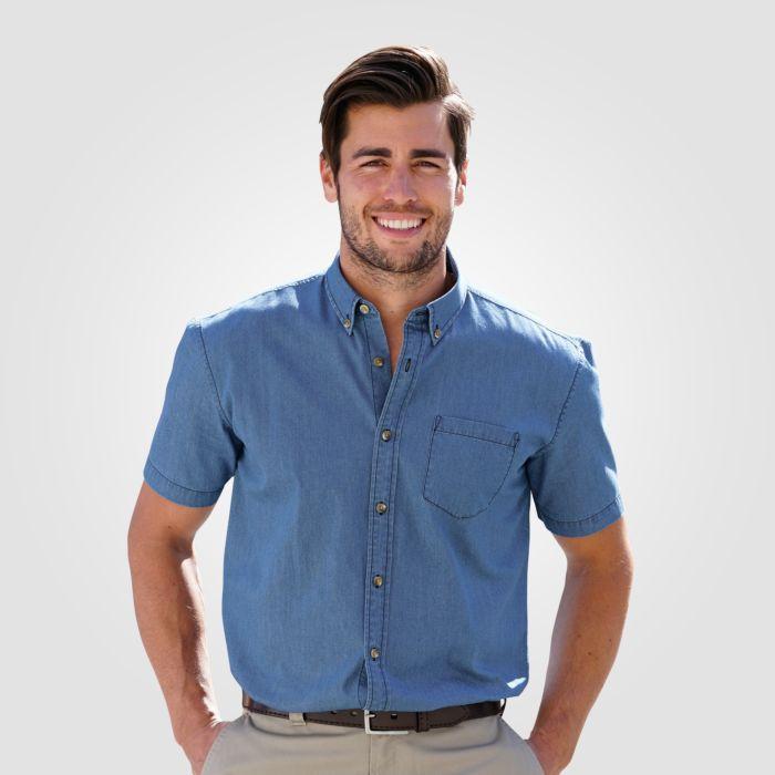 Chemise jean à manches courtes