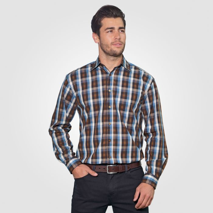 Langarmhemd Herren braun-blau kariert