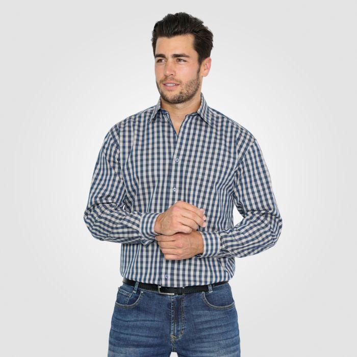 Chemise à longues manches et carreaux, bleu-beige
