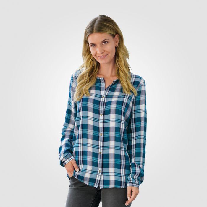 Karo-Bluse ohne Kragen