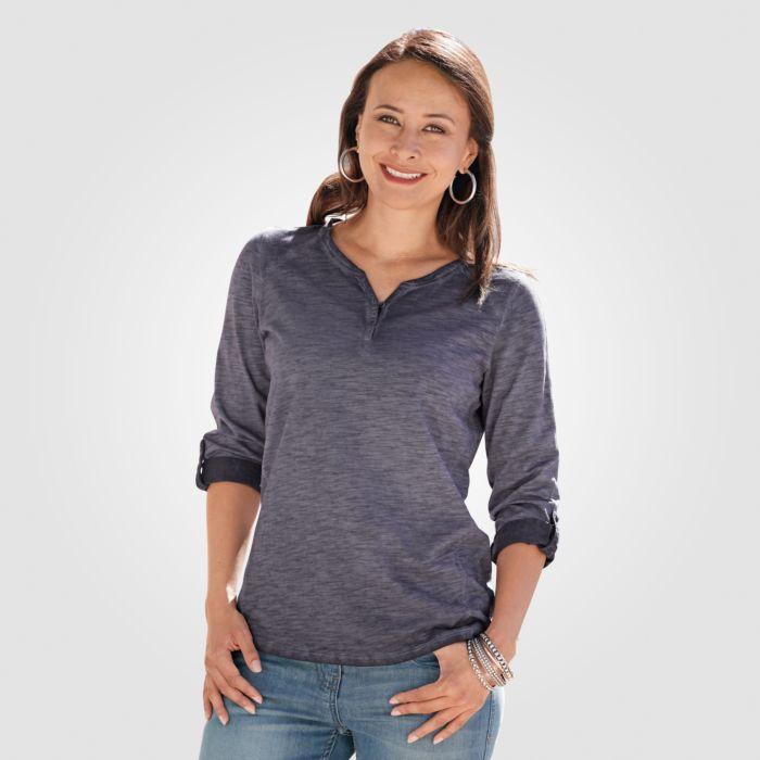 Langarm Shirt mit Knopfleiste