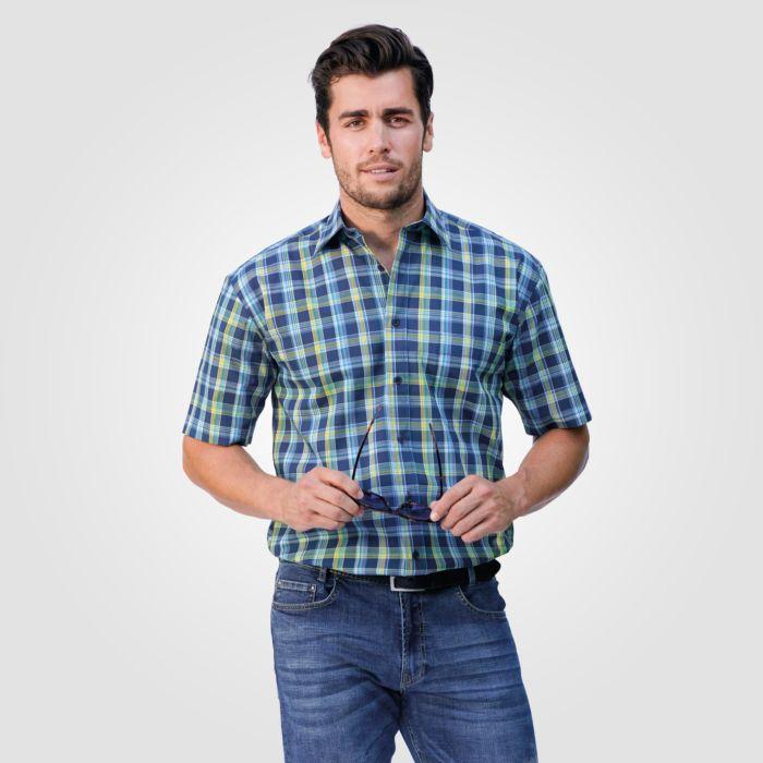 Herren Hemd kurzarm blau-gelb