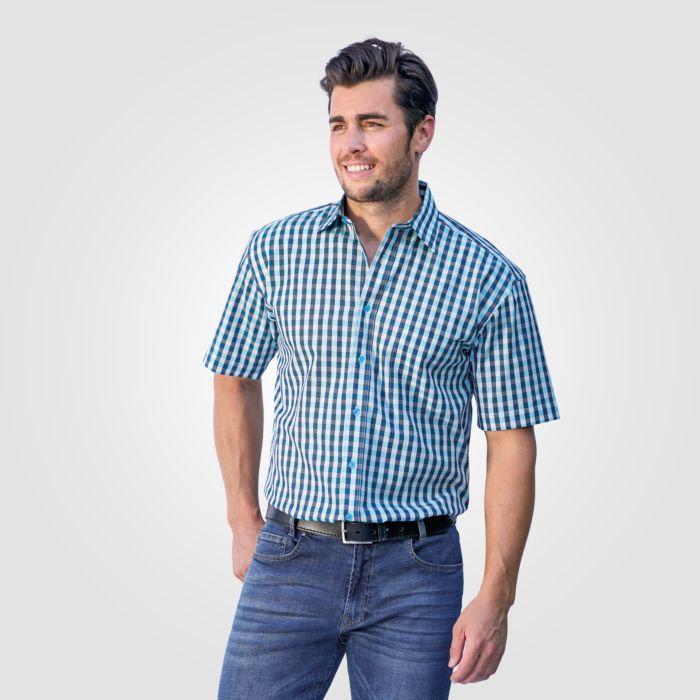 Herren Kurzarmhemd türkis-blau