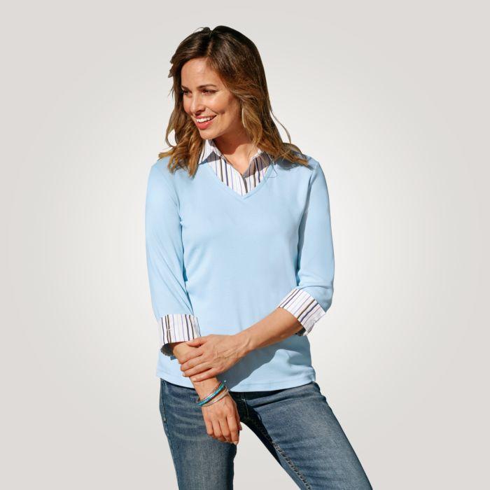 Shirt à manches 3/4 et col chemisier