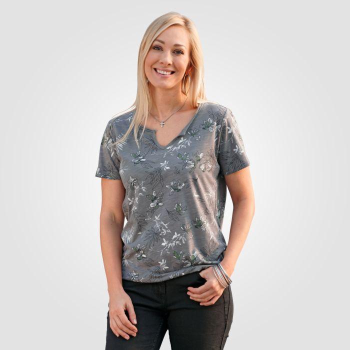 Damen T-Shirt Blumen-Print