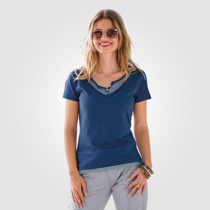 2-in-1 T-Shirt mit V-Neck