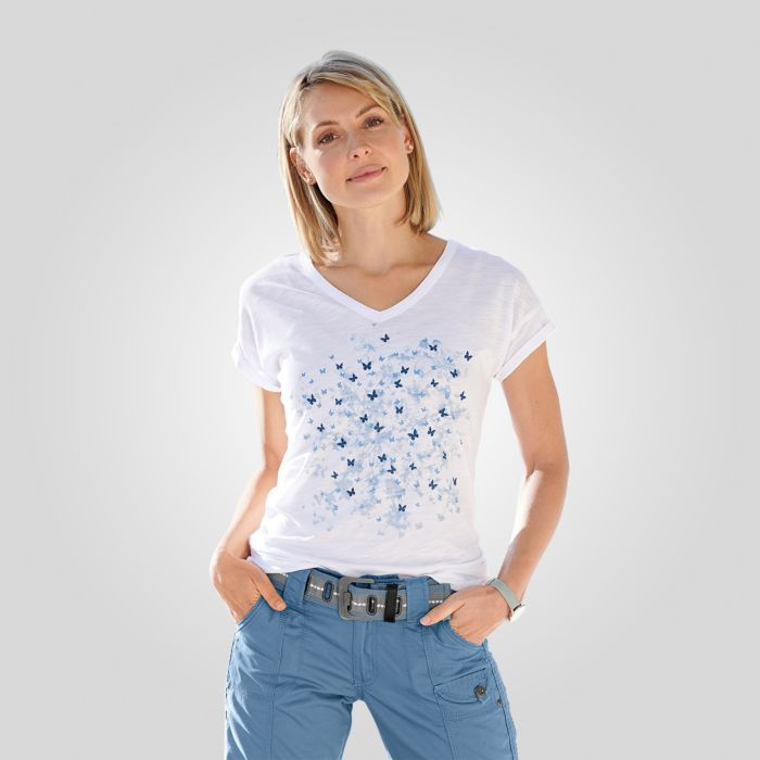 V-Neck T-Shirt mit Sommerprints