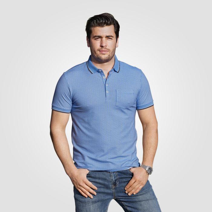 Poloshirt mit Mikro-Print und Brusttasche