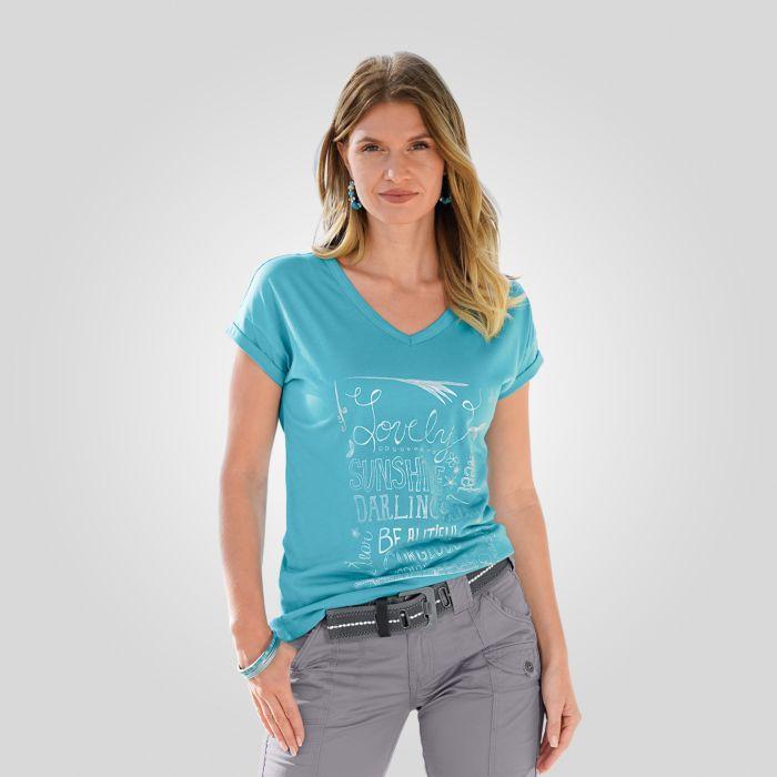 V-Neck T-Shirt mit Druckmotiv