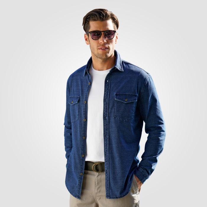 Artime Herren Sweat-Jeans-Hemd blau
