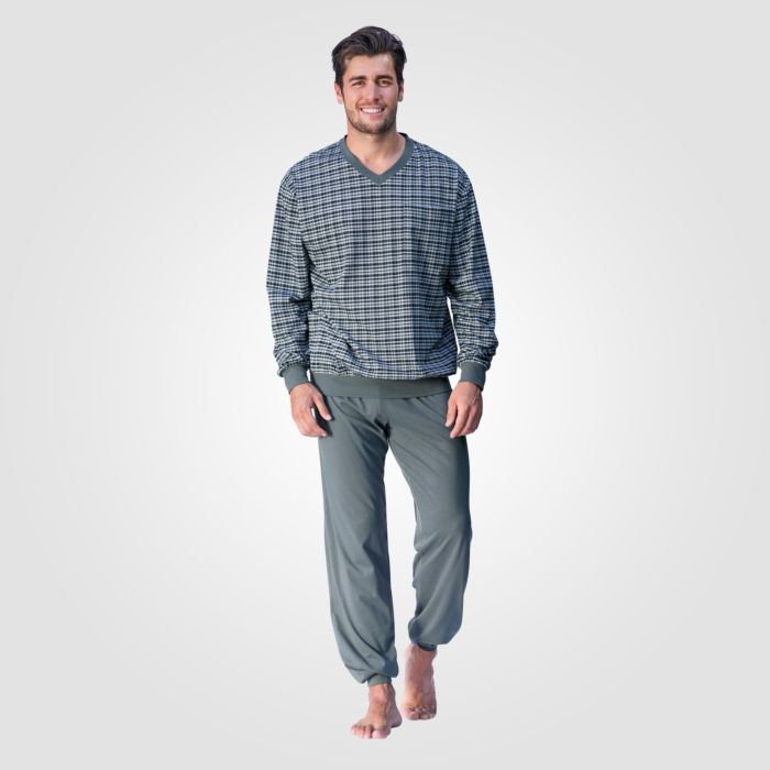 Pyjama Herren langarm mit V-Ausschnitt