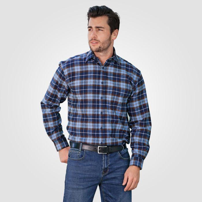 Flanellhemd Herren langarm blau-braun