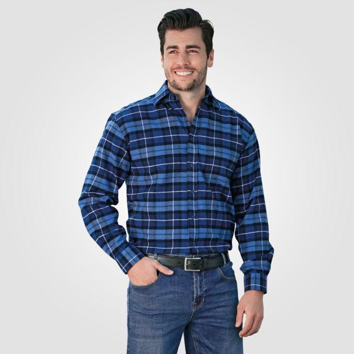 Chemise en flanelle pour hommes à carreaux, bleu roi