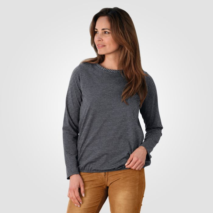 Miss Beverly Langarm Shirt Damen Strukturstreifen