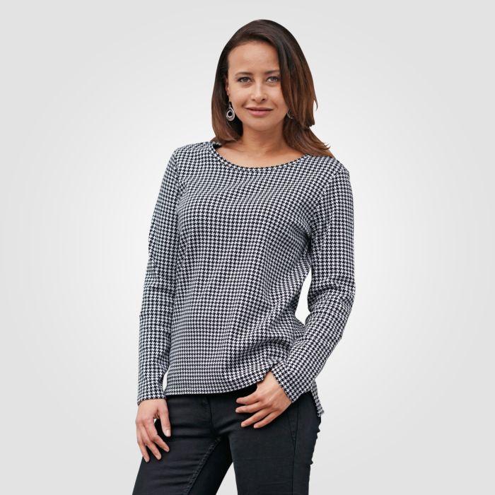 Miss Beverly Langarm Shirt Damen Pepita Muster