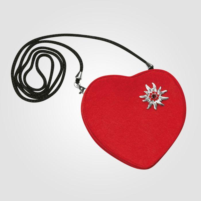 Sac à main dirndl en forme de cœur avec edelweiss