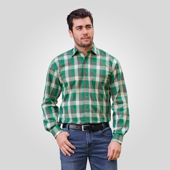 Langarmhemd grün kariert Herren