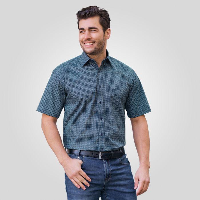 Herren-Kurzarmhemd mit Micro-Print dunkelgrün