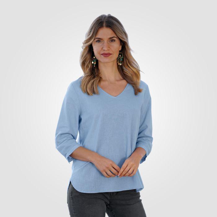 Tunika-Bluse mit V-Neck