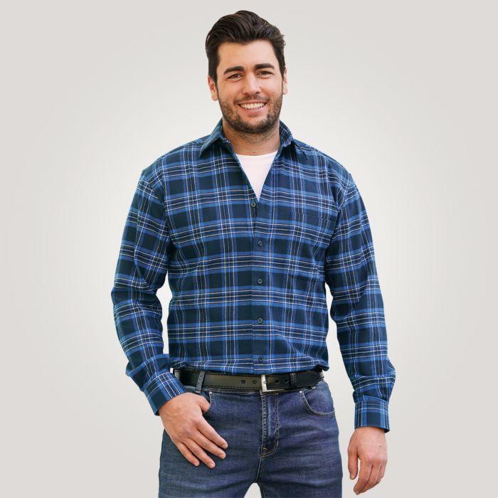 Chemise en flanelle, bleu roi à carreaux