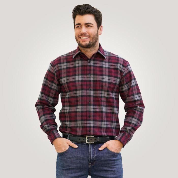 Chemise en flanelle, bordeaux-noir à carreaux