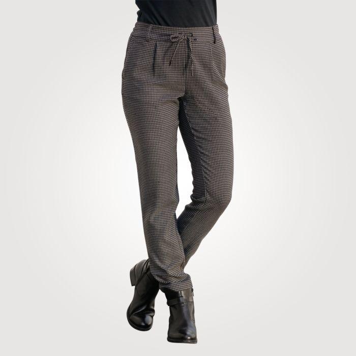 Pantalon à taille élastique et motif pied-de-poule