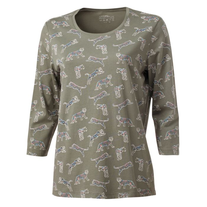 Image of 3/4 Arm Shirt Damen Alloverprint Tiger