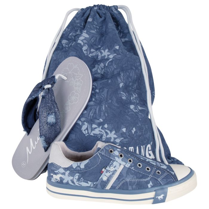 Sneaker, Beach Flips et sac de gym Mustang dames, lot de 3