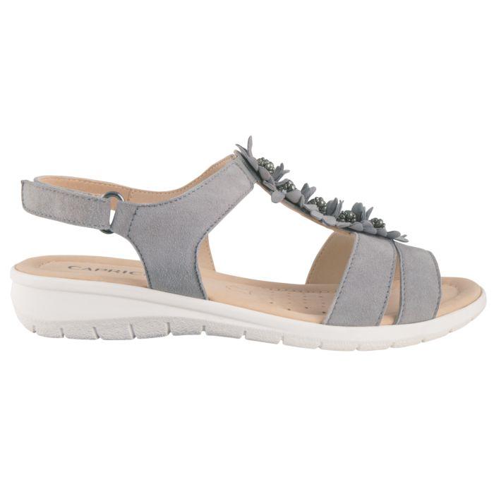 Sandalette Caprice en cuir nappa souple pour dammes gris clair