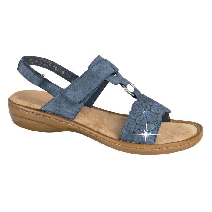 Sandalette Rieker en matière souple dames bleu jean