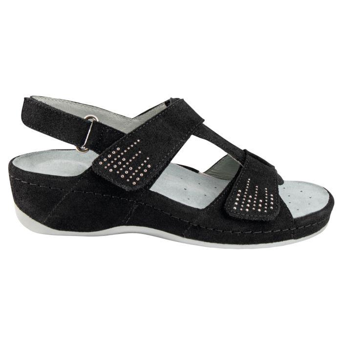 Sandalette aus Veloursleder mit Klettverschlüssen
