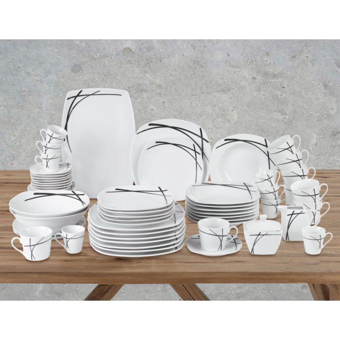 Vaisselle en porcelaine, service pour 8 personnes, 62 éléments