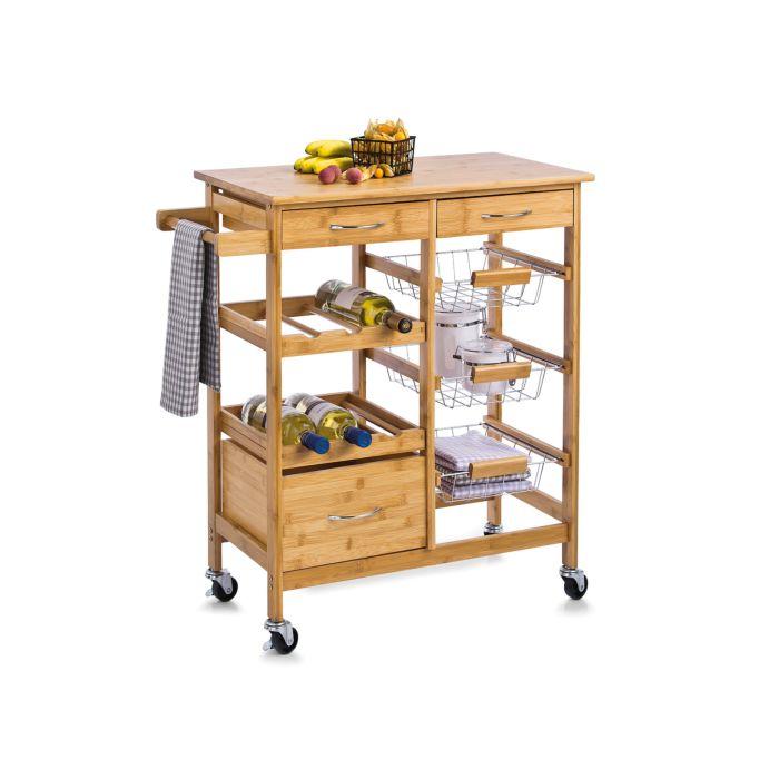 Küchen-Rollwagen Bambus massiv