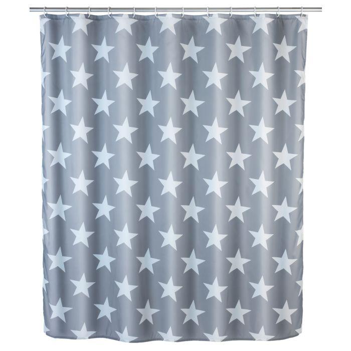 Rideau de douche Stella gris-blanc