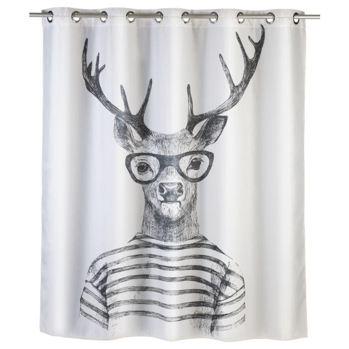 Duschvorhang Mr. Deer Flex schwarz-weiss