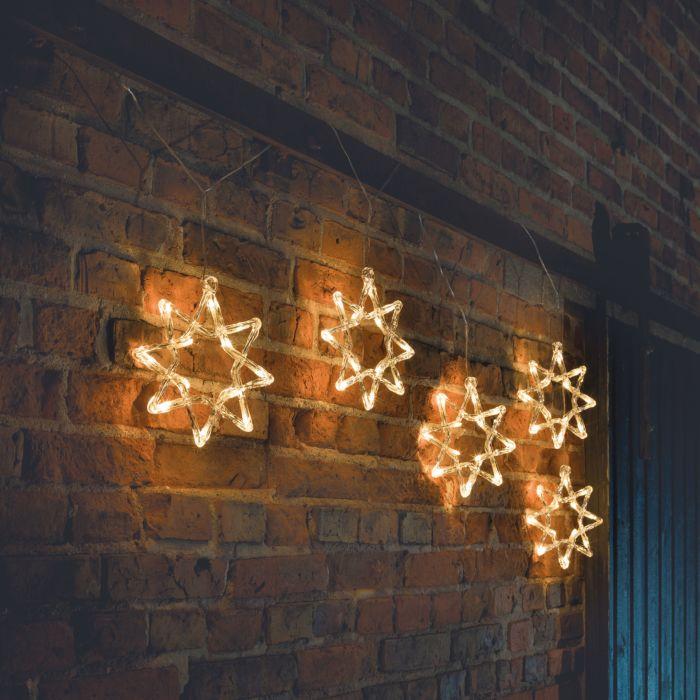 Lichtvorhang mit 5 Acrylsternen