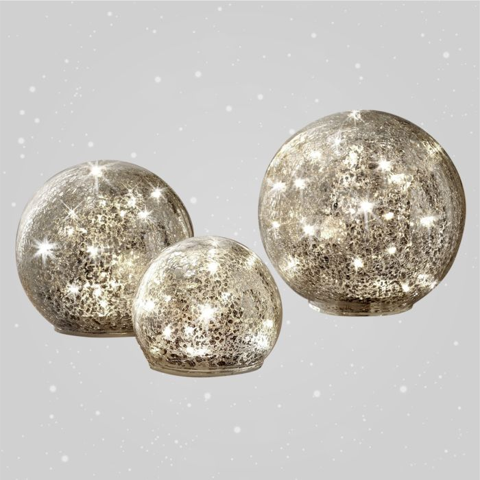 Lot de 3 boules LED en verre