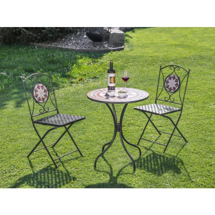 Set table et chaises bistro mosaïque, 3 éléments