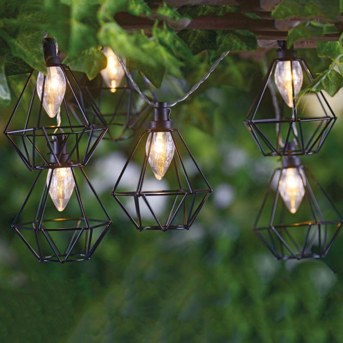 LED Lichterkette Laterne schwarz
