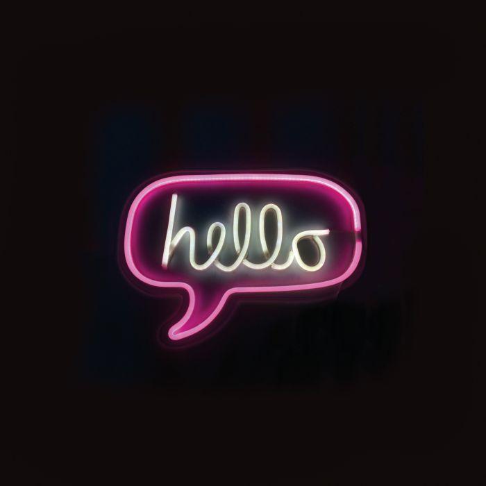Hello Neon-Leuchte pink/weiss