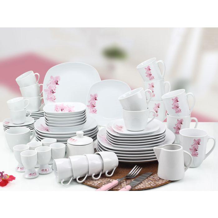 Service de table Orchid, 63 éléments, blanc-rose