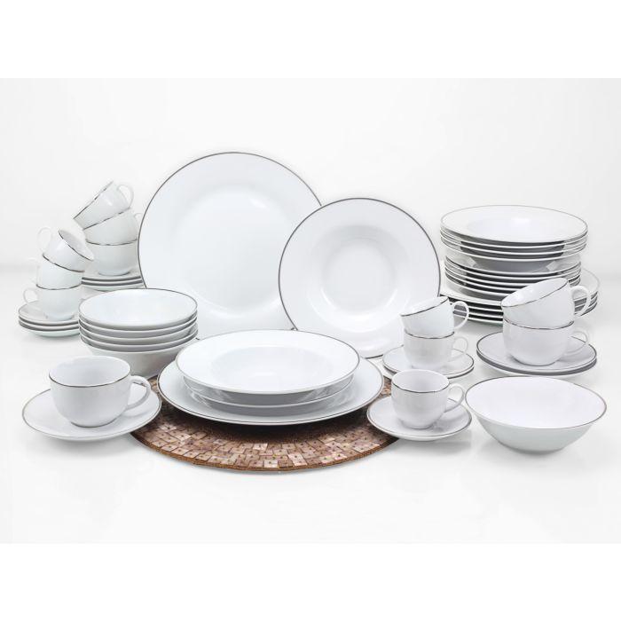 Service de table Silver Line, 48 éléments, blanc-argent