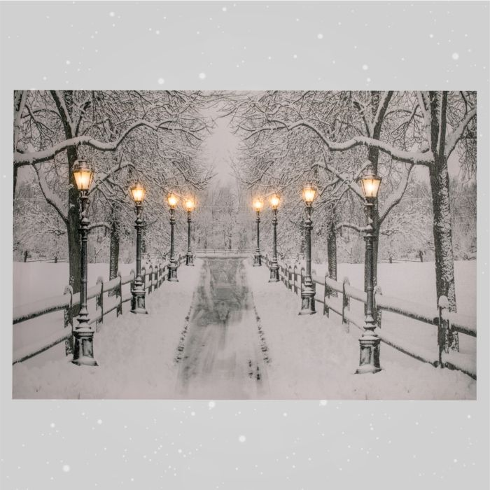 LED-Winterbild Allee mit 8 LED