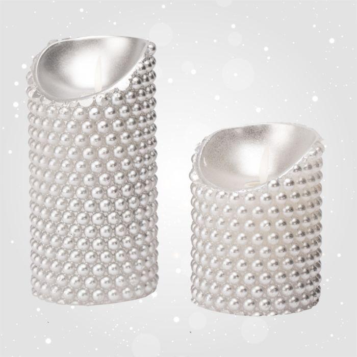 LED-Echtwachskerze Perlen-Design